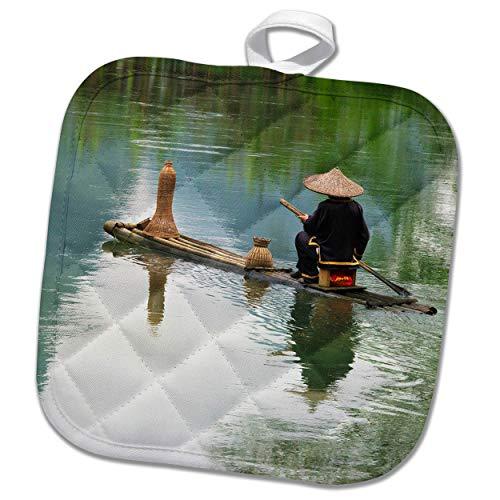 3dRose Danita Delimont - China - Fisherman on bamboo raft on Mingshi River, Guangxi Province, China - 8x8 Potholder (phl_312677_1)