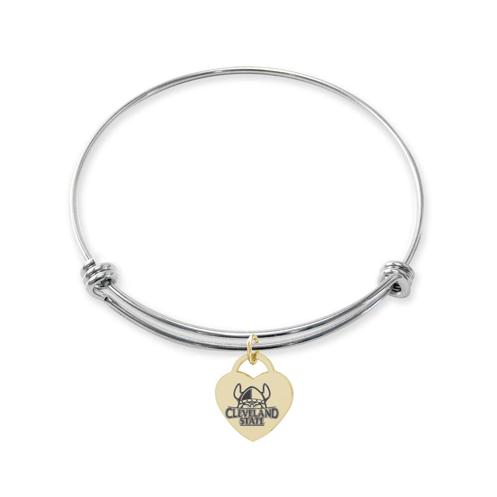College Jewelry Cleveland State Vikings Stainless Steel Adjustable Bangle Bracelet with Yellow Gold Plated Heart Charm