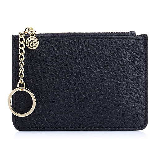 Aladin Leather Coin Purse with Key Chain, Womens Small Zipper Card Holder Wallet ()