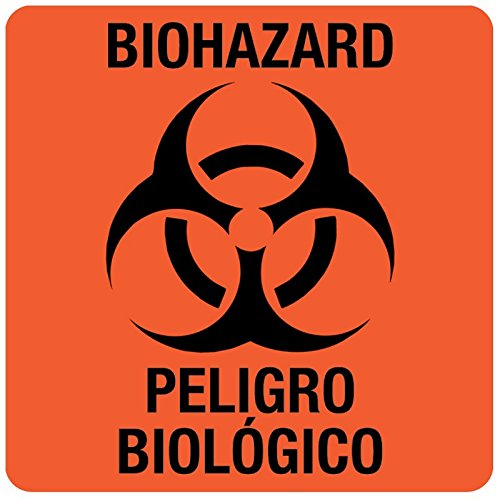 Bilingual Hazard Warning Labels (Medvalue Bilingual Biohazard Warning Label, 3