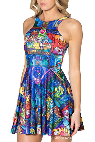 Women's Cartoon Printed Stretchy Sleeveless Pleated Fit and Flare