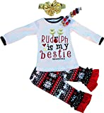Boutique Clothing Girls Christmas Rudolph Is My Bestie Clothing Set 3T