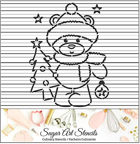 Christmas bear PYO cookie stencil paint your own NL0074 Stencil LAnd