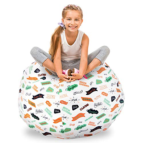 GuildreyTex Stuffed Animal Storage Bean Bag,100% Cotton Thick Canvas, 40 Inch X-Large Size Organiser and Sit Bean Bag Chair, Cover Only, Pattern in 13 Languages
