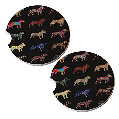 Pitbull Dog Pattern - Sandstone Car Drink Coaster (set of 2 coasters)