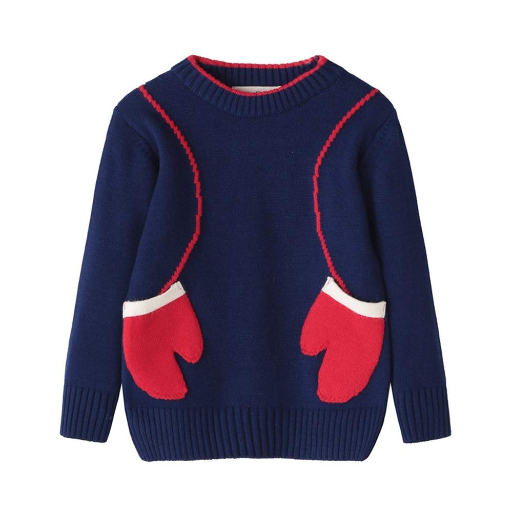 New Casual Childrens Sweater Boys and Girls Long-sleeved Cloth Gloves Sweater Kids Cotoon Warm Top Clothes