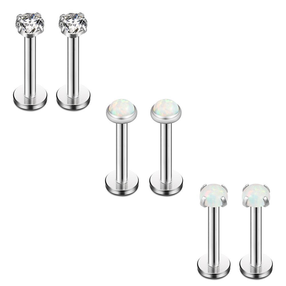 Ruifan 3mm White Opal & Clear CZ Internally Threaded Stainless Steel Labret Monroe Lip Ring Tragus Helix Earring Stud 16G 1/4'' 6mm 6PCS