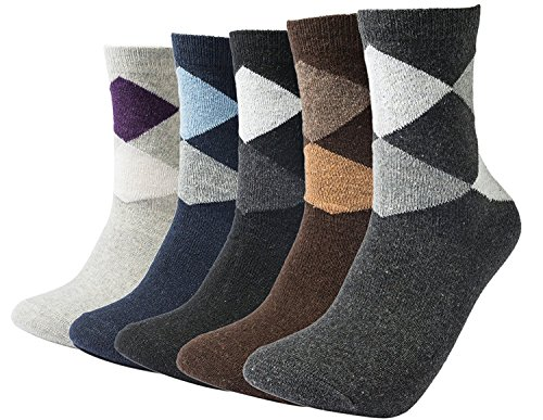 Mens 5 Pairs Warm Knit Soft Super Thick Wool Winter Comfortable Dress Crew Socks