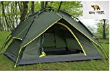 Camping Tent - Automatic, Super Fast Folding, Pop Up, Pop Down Tent with Wind-Proof Carbon Fibre Struts and Silver Lined Rain Tarp with UV Protection by Big Bear Outdoors - Room for two camp pads Pre-assembled poles for easy 10-second setup Taped flo...