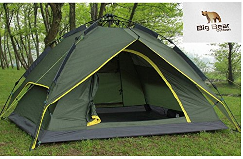 Camping Tent - Automatic, Super Fast Folding, Pop Up, Pop Down Tent with Wind-Proof Carbon Fibre Struts and Silver Lined Rain Tarp with UV Protection by Big Bear Outdoors