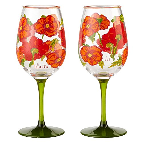 Wine Design Hand Painted Goblet - Enesco Designs by Lolita Best of the Bunch Acrylic Wine Glasses, Set of 2, 16 oz.
