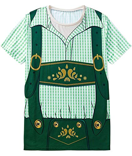 Funny World Men's Bavarian Oktoberfest Costume T-Shirts (M, Green)]()