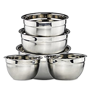 Mixing Bowl - Stainless Steel Bowl Set for Baking and Cooking Pack of 5 - By Svebake