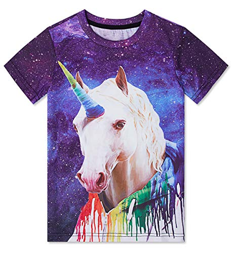 Youth Kids Crewneck Tees Funny Printed Graphic T-Shirts Vortex Short Sleeve Unicorn 3D Printed Polyester Tops Clothing Boys Birthday Shirt Girls Party Gifts Size M