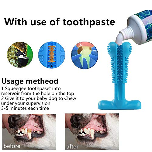 Pet Dog Toothbrush Natural Silica Gel Material Chew Toys for Tooth Cleaning and Interactive Training Playing Teething Brush Pets Oral by AODINI (Image #3)