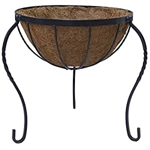 Grower Select Source Skill Coconut Arts Growers Select Floor Planter with Iron Legs, 14-Inch