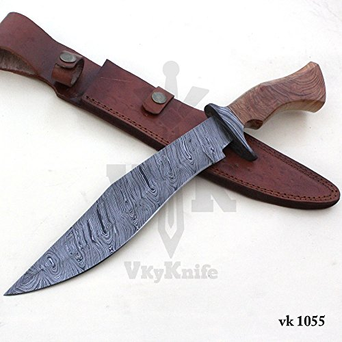 Handmade Damascus Steel Hunting Bowie Knife with Leather Sheath outdoor camping 15.50 Inches vk1055 by JNR TRADERS (Image #3)
