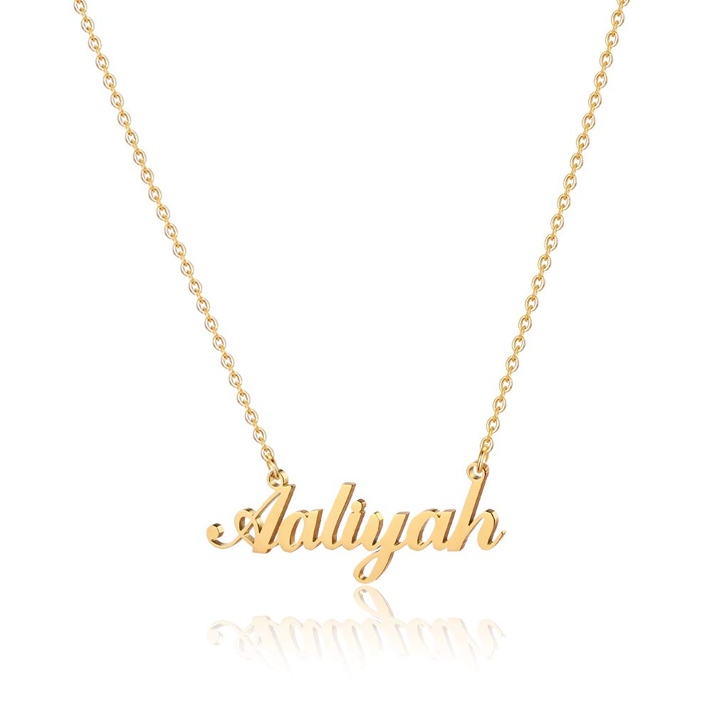 18K Gold Plated Personalized Name Necklaces for Women Girls Kids Teens Plate Monogram Necklace Name Necklace M MOOHAM Gold Custom Name Necklace Personalized