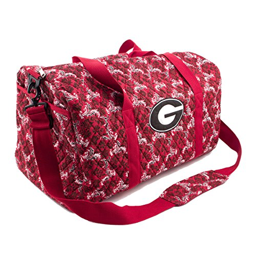 Georgia Bulldogs UGA Duffel Bag Large Quilted Travel Bag by Eagles Wings