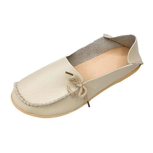 Siswong Zapatos Mocasines Plano de Cuero Suave Ocio Piso Mujer con Bowknot de Gran Tamaño Primavera