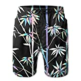 Holographic Bamboo Men's Board Shorts Bathing Suits Swimming Trunks Beach Pants with Mesh Lining Swimwear Bathing