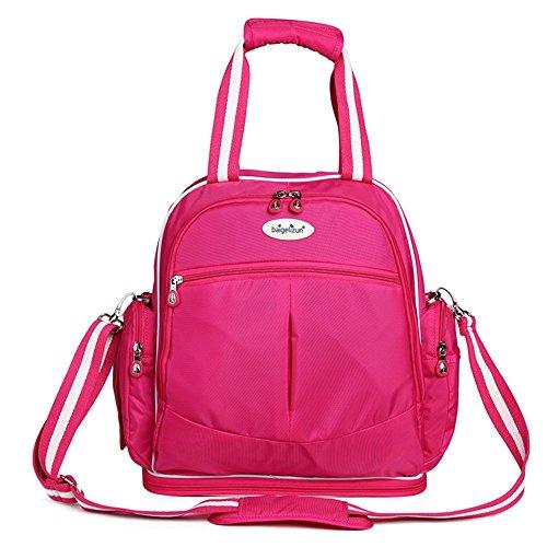 Madre paquete, materna e infantil bolsas, bolsa de la momia, de múltiples funciones de gran capacidad fuera de la bolsa, bolsa de hombro, mochila ( Color : Rosa Roja ) Rosa Roja