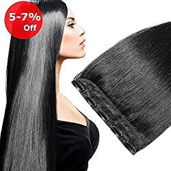Clip in Human Hair Extension One piece Jet Black #1 On Sale Soft Long Remy Hair Weft Extension Fast Shipping -- 22'' 55g Dark Black
