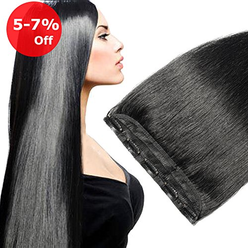 Clip in Human Hair Extension One piece Jet Black #1 On Sale Soft Long Remy Hair Weft Extension Fast Shipping - 22'' 55g Dark Black (Clip 20' Straight Long)