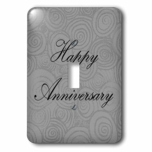 3dRose BlakCircleGirl - Event - Silver Anniversary Swirls - Happy Anniversary With Silver Swirls - Light Switch Covers - single toggle switch (lsp_283651_1)