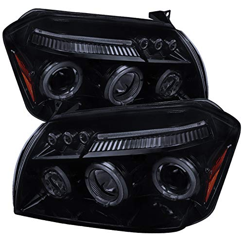 Carpartsinnovate For 05-07 Dodge Magnum Glossy Black Smoke LED Halo Projector Headlights Pair (Dodge Magnum Srt8 Headlights)