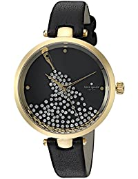 kate spade new york Womens Holland Quartz Stainless Steel and Leather Casual Watch, Color:Black (Model: KSW1234)