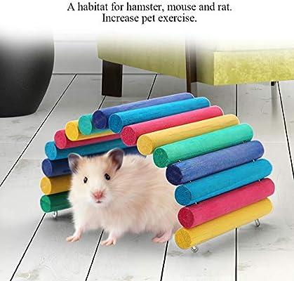 Furnoor Pet-Toys y Target_Audience_Keywords :(Conejos o Ratas Hurones Conejillos de Indias Hamsters Ratones Chinc), Escalera de Madera Puente Hamster Ratón Rata Roedores Juguete Juguete masticable pa: Amazon.es: Productos para mascotas