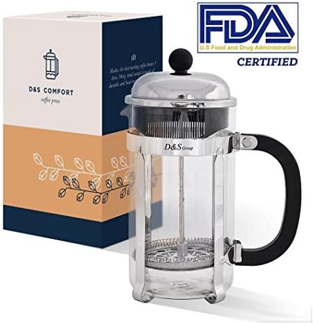 French Press – Coffee Press for Make Best Coffee and Tea – Tea Press – French Press Coffee Maker – Coffee Pot – Glass French Press with Additional Top Filter – 34oz for 4 cups
