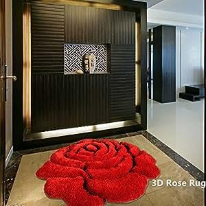 Amazon Com Ustide Rose Rug Super Soft Red Mat Solid Color