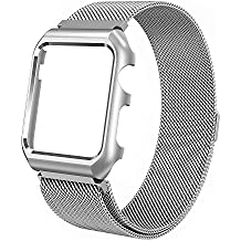ALNBO for Apple Watch Band 42mm Milanese Loop Mesh Magnetic iWatch Band with Metal Protective Screen Bumper Case for Apple Watch Nike+ Series 3 Series 2 Series 1 Sport Edition Silver