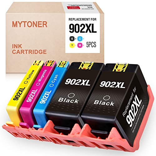 MYTONER Remanufactured Ink Cartridge Replacement for HP 902xl 902 XL Ink for HP OfficeJet Pro 6968 6978 6958 6962 6960 6970 6979 6950 6954 6975 Printer (2 Black, Cyan, Magenta, Yellow, 5-Pack) (Hp Officejet Pro 6960 Ink Cartridge Refill)