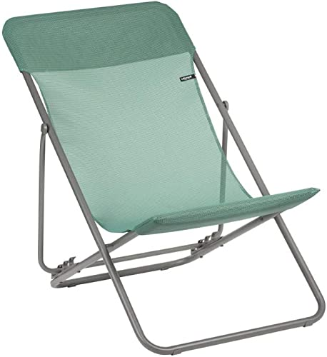 Lafuma Maxi Transat Folding Sling Chair Chlorophylle Green Canvas, Set of 2 Foldable Adirondack w Titane Steel Frame