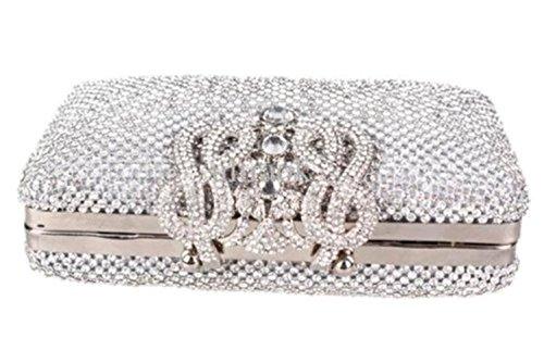 Girly Handbags Sac Pochette de à Strass Argenté soirée 88qrZRpw