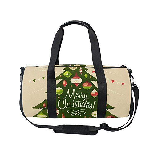 Merry - bolsa deportiva para el gimnasio, diseño de copos de nieve, con bolas de árbol de Navidad, Patrón 3, 18 x 9 x 9.5...