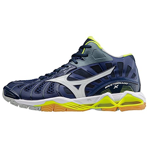 Mizuno Scarpe Volley Uomo - WAVE TORNADO X MID - V1GA1617-71 - BlueDepths/White/SafetyYellow-46.5