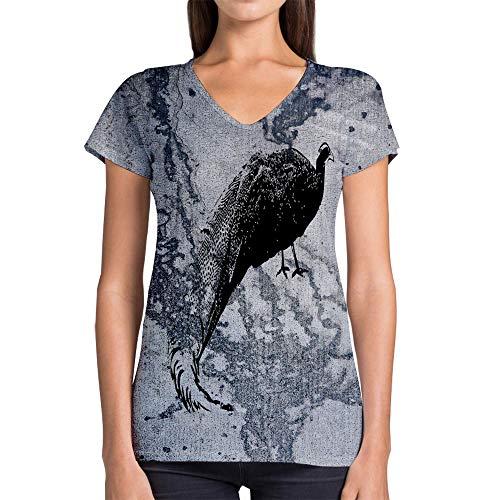 Idakoos Animal Crested Argus Pheasant 3D - Women V-Neck T-Shirt Polyester