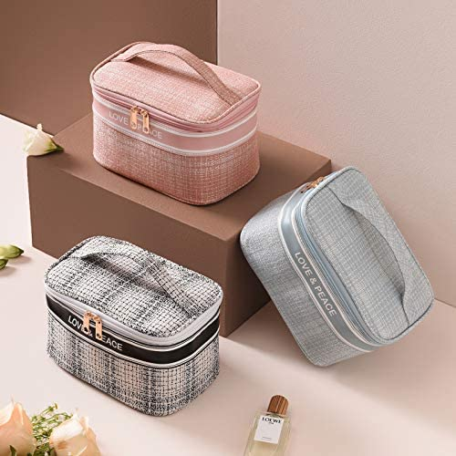 Makeup Bag Travel Cosmetic Bag Portable Makeup Case Organizer Large Toiletry Bags Travel Accessories for Women and Girls (black)