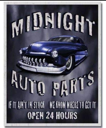 ShopForAllYou Vintage Decor Signs Midnight Auto Parts Metal Tin Sign 24 Hours Garage Repair Chevy Ford Dodge New
