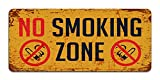 Print Crafted No Smoking Zone - Vintage Metal Warning Sign For Business Or Home
