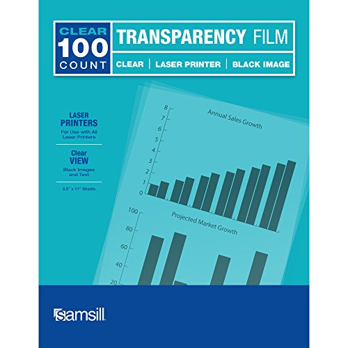 Samsill Economy Transparent Printer Paper/Projector Paper, Clear Transparency Film for Laser Jet Printers, 8.5 x 11 Inch Sheets - Black Image Only, Box of 100 Sheets ()