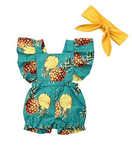 doublebabyjoy Baby Girl's 2-Piece Pineapple Print Outfits Newborn Girl Ruffles Sleeveless Backless Romper Headband (0-6 Months) Gold - Newborn Two Piece Outfit