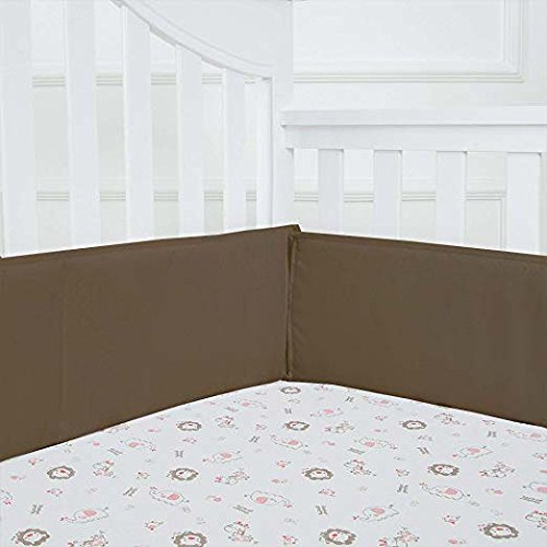 ble Crib Bumper Pads for Standard Cribs 100% Premium Cotton, Taupe ()