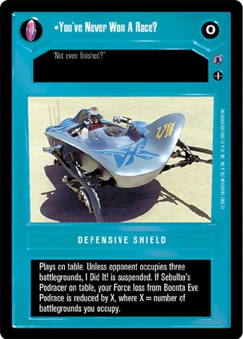 STAR WARS CCG REFLECTIONS III DS PREMIUM YOU'VE NEVER WON A RACE P24 DEFENSIVE SHIELD
