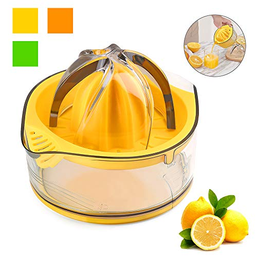 Kasmoire Citrus Orange Squeezer Manual Hand Juicer Lime Press Anti-Slip Reamer with Strainer and Container, Yellow, 5.1 x 3.9 inch