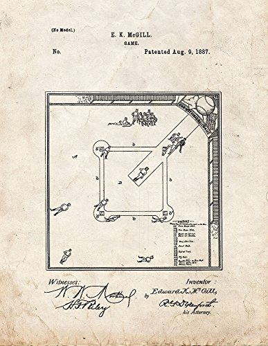 Baseball Game Patent Print Art Poster Old Look (8.5